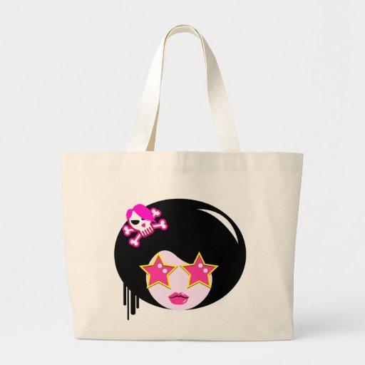 Cute pink apple girl canvas bag