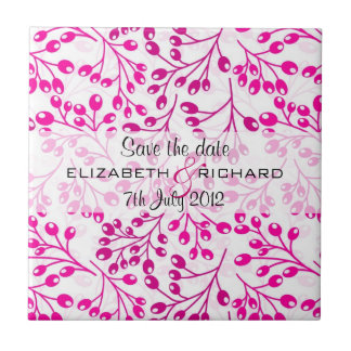 Cute pink autumn fruits Save the date Tile