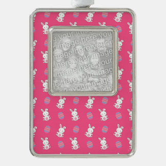 Cute pink baby bunny easter pattern silver plated framed ornament