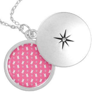 Cute pink baby bunny easter pattern lockets