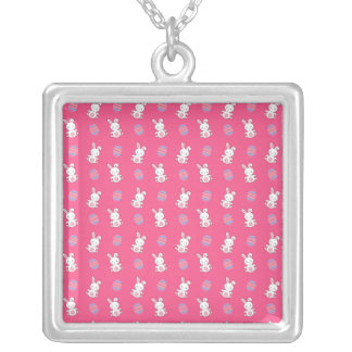 Cute pink baby bunny easter pattern personalized necklace