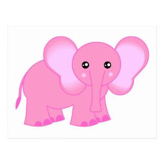 Cute Pink Baby Elephant Postcard