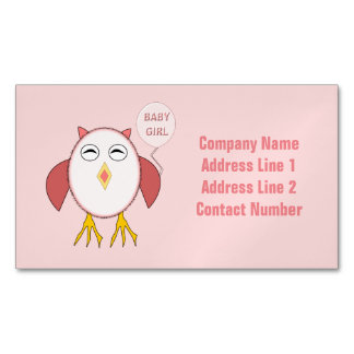 Cute Pink Baby Girl Owl Magnetic Business Cards