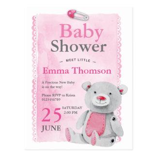 Cute Pink Baby girl teddy bear hand painted Postcard