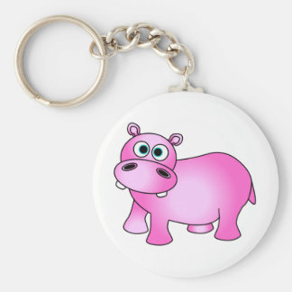 Cute Pink Baby Hippo Basic Round Button Key Ring