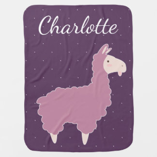 Cute Pink Baby Llama & White Dots Baby's Name Baby Blanket