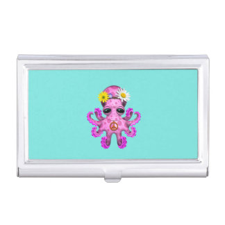Cute Pink Baby Octopus Hippie Business Card Holder