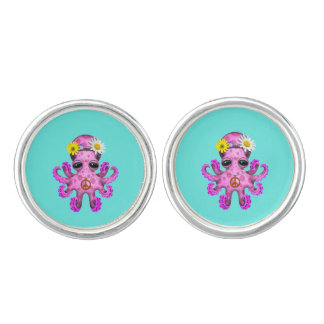 Cute Pink Baby Octopus Hippie Cuff Links