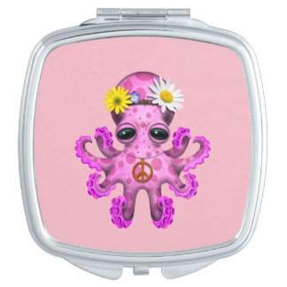 Cute Pink Baby Octopus Hippie Travel Mirror