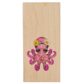 Cute Pink Baby Octopus Hippie Wood USB Flash Drive