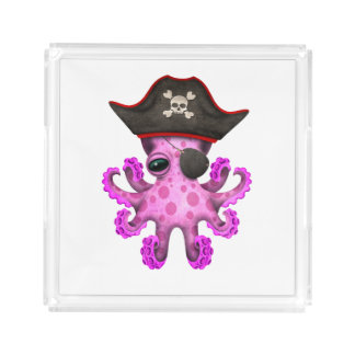 Cute Pink Baby Octopus Pirate Acrylic Tray