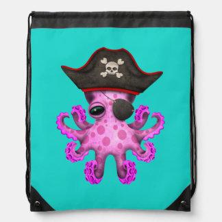 Cute Pink Baby Octopus Pirate Drawstring Bag