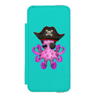 Cute Pink Baby Octopus Pirate Incipio Watson™ iPhone 5 Wallet Case