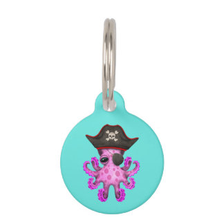Cute Pink Baby Octopus Pirate Pet Tag