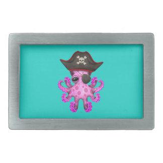 Cute Pink Baby Octopus Pirate Rectangular Belt Buckle