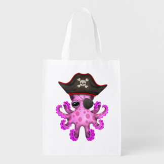 Cute Pink Baby Octopus Pirate Reusable Grocery Bag