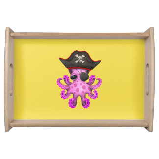 Cute Pink Baby Octopus Pirate Serving Tray