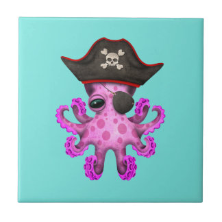 Cute Pink Baby Octopus Pirate Small Square Tile