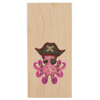 Cute Pink Baby Octopus Pirate Wood USB Flash Drive