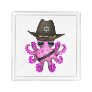 Cute Pink Baby Octopus Sheriff Acrylic Tray
