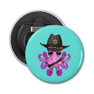 Cute Pink Baby Octopus Sheriff Bottle Opener