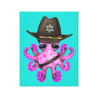Cute Pink Baby Octopus Sheriff Canvas Print