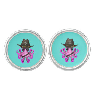 Cute Pink Baby Octopus Sheriff Cuff Links