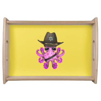 Cute Pink Baby Octopus Sheriff Serving Tray