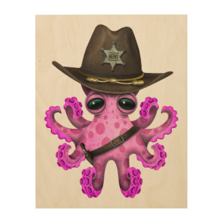 Cute Pink Baby Octopus Sheriff Wood Wall Art