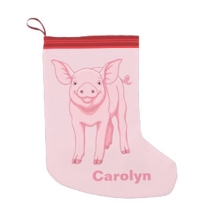 Cute Pink Baby Pig Small Christmas Stocking