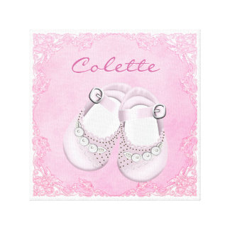 Cute Pink Baby Shoes Baby Girl Stretched Canvas Prints