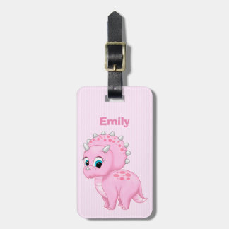 Cute Pink Baby Triceratops Dinosaur Luggage Tag