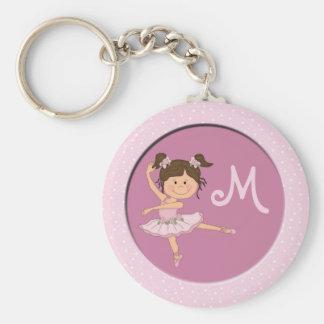 Cute Pink Ballerina 1 Custom Monogram Keychain