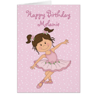 Cute Pink Ballerina 2 Birthday Cards
