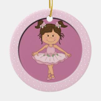 Cute Pink Ballerina 3 Ballet Star Ceramic Ornament