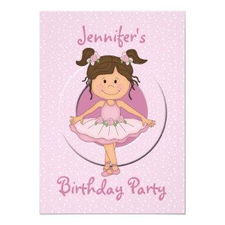 Cute Pink Ballerina Birthday Party 13 Cm X 18 Cm Invitation Card
