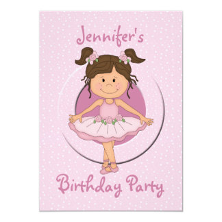 Cute Pink Ballerina Birthday Party Invitations