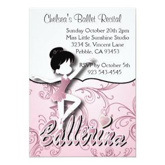 Cute Pink Ballerina Girl | Ballet Dance Recital 13 Cm X 18 Cm Invitation Card