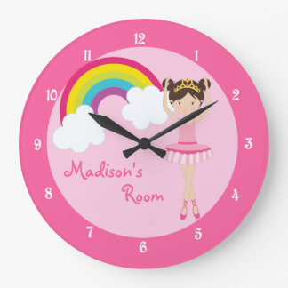 Cute Pink Ballerina Large Clock