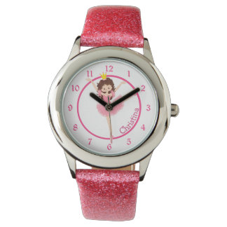 Cute Pink Ballerina Personalized Kids Watch