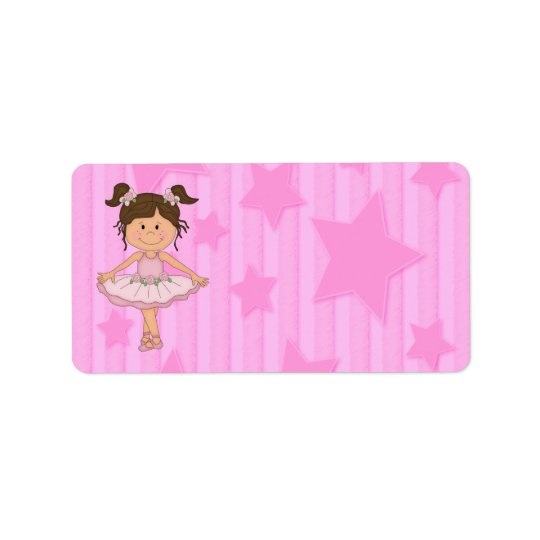 Cute Pink Ballet Girl On Stars and stripe Address Label