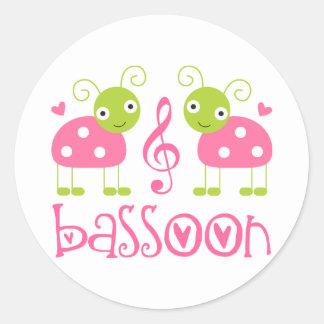 Cute Pink Bassoon Ladybug Music Gift Classic Round Sticker