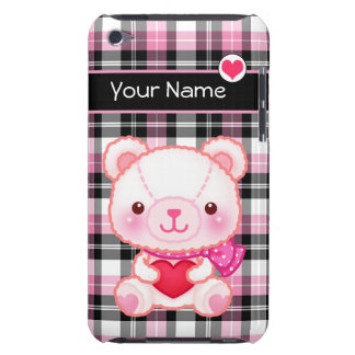Cute pink bear with red heart - Personalized iPod Touch Case