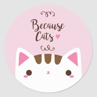 "Cute Pink ""Because Cats"" Sticker"