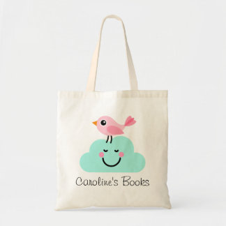 Cute pink bird and cloud personalized library budget tote bag