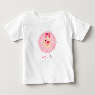 Cute Pink Bird Tee For Baby Girl