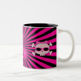 Cute Pink & Black Guitars & Skulls Two-Tone Mug