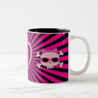 Cute Pink & Black Heart & Skulls Two-Tone Mug