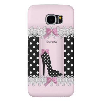 Cute Pink Black Polka Dots High Heel Samsung Galaxy S6 Cases