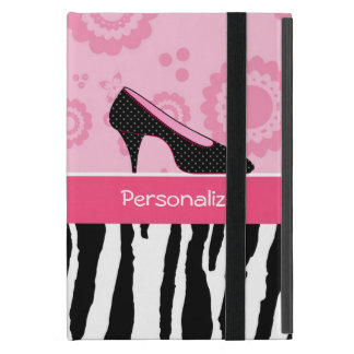 Cute Pink Black Shoes Trendy Zebra Print With Name iPad Mini Case